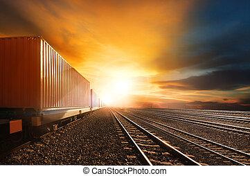 산업, 컨테이너, 기차, 달리기, 통하고 있는, 철도, 궤도를 관찰하다, 향하여, 아름다운, 설정되는 태양,...