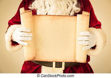 산타클로스, 보유, 두루마리, 종이, 공백