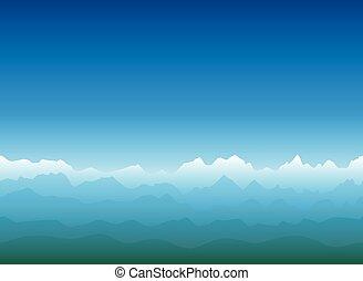 산, 거대한, 조경술을 써서 녹화하다, 수평선