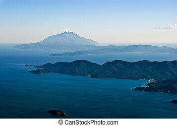 산, 공중선, athos