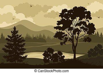 산, 나무, 와..., 호수