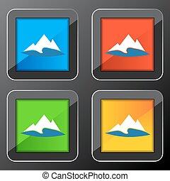 산, 단추, 호수