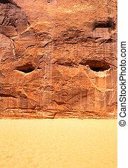 산, 돌, 모래, 배경, 직물