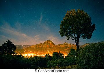 산, 아리조나, 도시, 형성, 은 점화한다, 바위, sedona