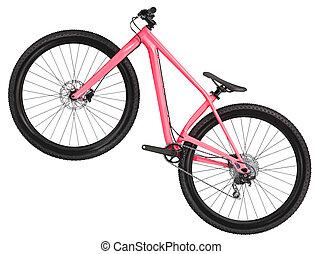 산, 자전거, 자전거, 고립된, 백색 위에서, 배경