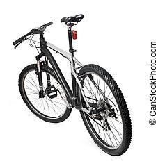 산, 자전거, 자전거, 고립된, 백색 위에서