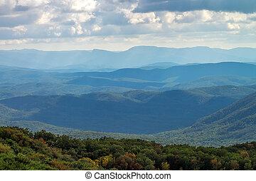 산, 조경., 구성, 의, 자연