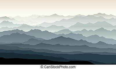 산, 조경., 삽화, 아침, 수평이다, 봄 안개가 덮인