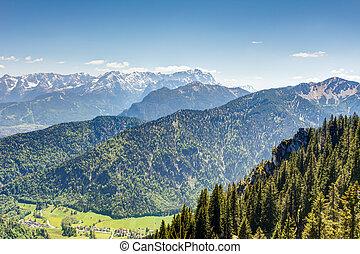 산, 활강의, zugspitze, 보이는 상태