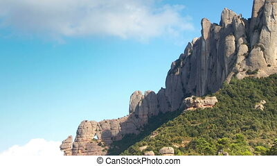 산, timelapse, catalonia, montserrat, 위엄 있는, 멋진, 바르셀로나, 심한...