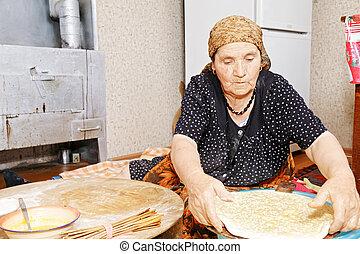 살갗이 벗어진, 여자, 둠, 판자, bread