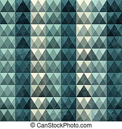 삼각형, 파랑, 패턴, seamless