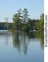 삼림이 있는, 섬, 반영된다, 평온, 호수