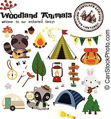 삼림지, 동물, 야영, 벡터, 세트