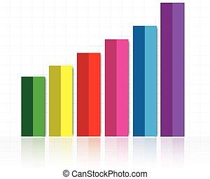 삽화, 의, 다채로운, 막대 그래프, 와, 솟는