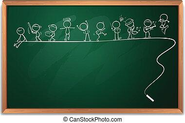 삽화, 의, a, 칠판, 와, 그림, 의, 사람, 결합, 에서, 다른, 활동, 통하고 있는, a, 백색 배경