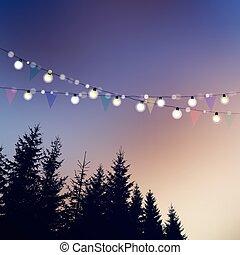 삽화, junina, 벡터, 끈, festa, 카드, 유월, 실루엣, 은 점화한다, 배경., invitation., 생일, 일몰, 나무, 파티, 브라질의, 기, 또는, 파티, 정원