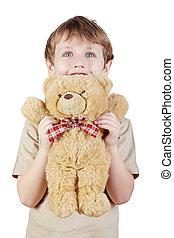 상세한 묘사, 소년, 에서, 그만큼, 베이지색, 티셔츠, 은 붙들n다, bear-toy.