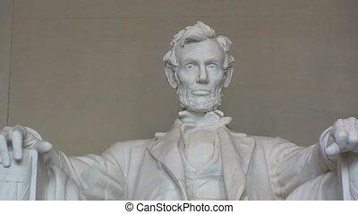 상세한 묘사, 의, 링컨 기념탑, 에서, 워싱톤, 피해 통제., –, 은 밖으로 급상승한다