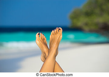 상세한 묘사, 의, 여성, 발, 에서, 그만큼, 대양, 통하고 있는, 그만큼, 열대적인, 해변., 휴가, holidays.