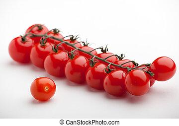 상세한 묘사, 익은, 체리 토마토, 배경, 하얀 빨강, 다발