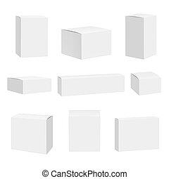상술된다, box., 컨테이너, mockup, 사변형의, 실감나는, 상자, 벡터, 공백, 백색, 포장