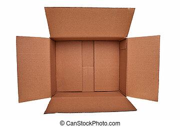 상자, 갈색의, 위의, 고립된, 배경., 백색, 판지, 열려라