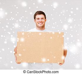 상자, 나름, 미소, 판지, 남자