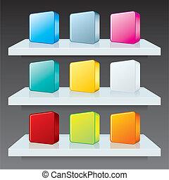 상자, 다채로운, shelves., 아이콘, 벡터, 본뜨는 공구