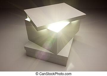 상자, 뚜껑, 매우, 계시하는, 밝은, 무엇인가, 백색