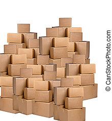 상자, 백색 배경, 더미, 판지