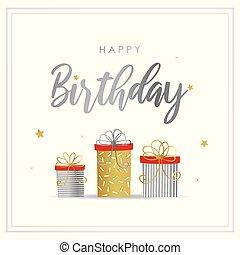 상자, 벡터, 선물, 인사, 생일 카드, 행복하다