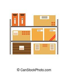 상자, 선반, later, 금속, 배달, 쌓는, 저장되는, 종이, 선적, 창고, 포장