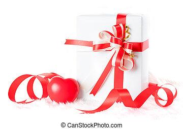 상자, 심장, 선물, 연인, day., 빨강