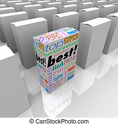 상자, 제품, 정지, 이점, 선반, 경쟁, 최선, 상점, 나가