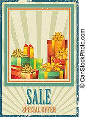 상자, 판매, 선물
