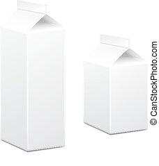 상자, 판지, 백색, 주스, 벡터, 공백, 포장, 우유