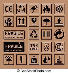 상자, 판지, icons., 판지