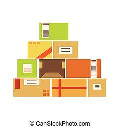 상자, later, 위로의, 배달, 쌓는, 저장되는, 종이, 선적, 창고, 포장