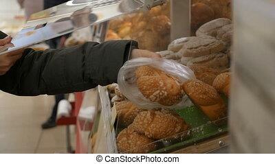 상점, 롤빵, grocery, 취득, 여자