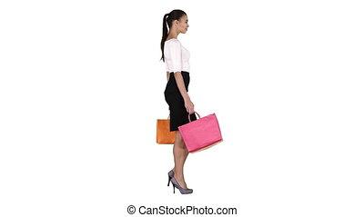 상점, 은 자루에 넣는다, 걷기, 쇼핑하고 있는 여성, 나이 적은 편의, 배경., 밖으로의백색