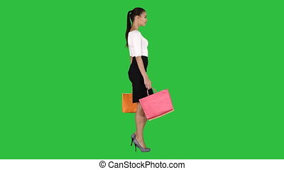 상점, 은 자루에 넣는다, 걷기, 쇼핑하고 있는 여성, chroma, 나이 적은 편의, 스크린, 녹색, ...