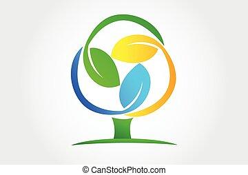 상징, 나무, 벡터, 디자인, 은 잎이 난다, 로고