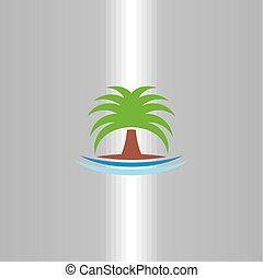 상징, 나무, 벡터, 손바닥, 로고, 아이콘