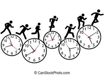 상징, 사람, 움직이는 경주, 에서, 시간, 통하고 있는, clocks