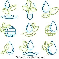 상징, 생태학, set., eco-icons.