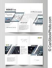 상징, 스타일, 벡터, 사업, elements., 최소한 요구의 용인으로 만족하는 사람, 떼어내다, editable, 배경, layout., 은 일렬로 세운다, infographic, 디자인, 도표, 쉬운, 소책자, tri-fold, 다른, 그림, templates.