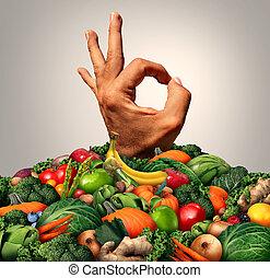 상쾌한, 건강에 좋은 음식, 개념