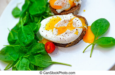 상쾌한, 달걀 benedict