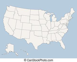 상태, 지도, 미국, 결합되는, 벡터